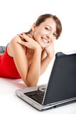 Young woman using a laptop Royalty Free Stock Photo