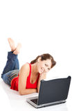 Young woman using a laptop Stock Photo
