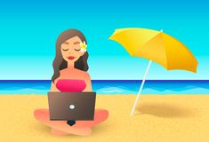 Young woman using laptop computer on a beach. Freelance work concept. Cartoon flat girl working near the ocean. Freelancer working on vacation Royalty Free Stock Photos