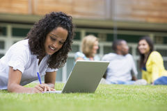 Young Woman Using Laptop On Campus Lawn Stock Image