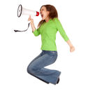 Young woman using megaphone and jumping Stock Images