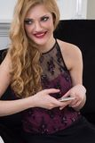 Young woman and  using mobile phone Royalty Free Stock Images