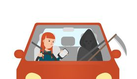 Young Woman Using Mobile Phone while Drive the Car. On the Passenger Seat Sits the Death with Scythe. Vector Illustration. Young Woman Using Mobile Phone while stock illustration