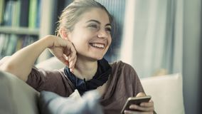 Young woman using mobile phone royalty free stock photo