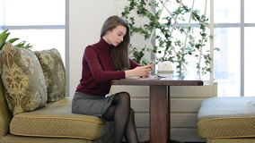 Young woman using smartphone in cafe stock footage
