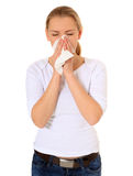 Young woman using tissue Stock Image