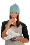 Young Woman Using Tissue Stock Photography
