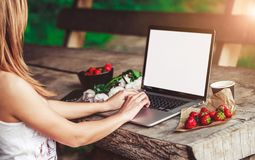 Young woman using and typing laptop computer at rough wooden table with coffee cup royalty free stock image