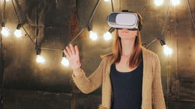 Young woman using Virtual Reality Glasses stock footage