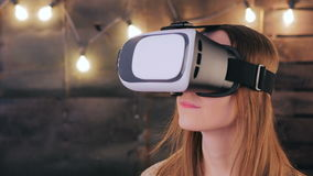 Young woman using Virtual Reality Glasses stock video