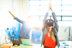 Young woman using the virtual reality headset Royalty Free Stock Photo