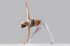 Young woman in Utthita Trikonasana pose, grey studio background. Young attractive woman practicing yoga, standing in extended triangle exercise, Utthita Stock Photography