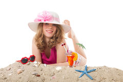 Young woman on vacation at the beach Royalty Free Stock Photography