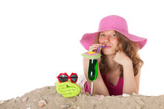 Young woman on vacation at the beach Royalty Free Stock Photos
