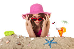 Young woman on vacation at the beach Stock Photo