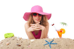 Young woman on vacation at the beach Royalty Free Stock Image