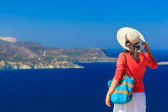 Young woman on vacation in Greece Stock Photos