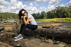 Young woman on vacation Royalty Free Stock Photos