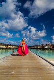 Young woman vacation at tropical beach Stock Image
