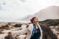 Woman enjoying happy moments Royalty Free Stock Image
