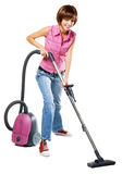 Young woman with vacuum cleaner Stock Photo