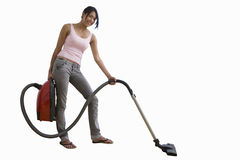 young woman with vacuum cleaner, cut out Royalty Free Stock Photos