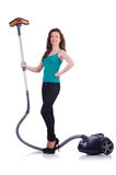 Young woman with vacuum cleaner Stock Images