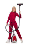 Young woman with vacuum cleaner Stock Photography