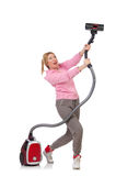 Young woman with vacuum cleaner Royalty Free Stock Image