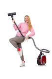 Young woman with vacuum cleaner Royalty Free Stock Images