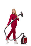 Young woman with vacuum cleaner Royalty Free Stock Photography
