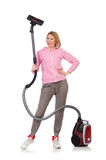 Young woman with vacuum cleaner Stock Photos