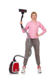 Young woman with vacuum cleaner Stock Image