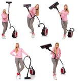 Young woman with vacuum cleaner on white Stock Image