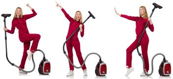 Young woman with vacuum cleaner on white Stock Photography