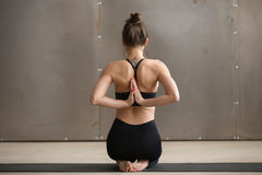 Young woman in Vajrasana pose, Namaste behind the back, studio. Young yogi woman practicing yoga, sitting in Vajrasana pose with Namaste behind the back, working royalty free stock photos