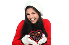 Young Woman with Valentine Heart Candy Box Stock Photos