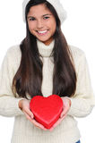 Young Woman with Valentine Heart Candy Box Royalty Free Stock Images