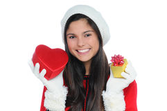 Young Woman with Valentine Heart and Gift Royalty Free Stock Photos