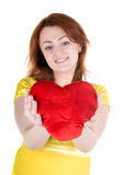 Young woman with valentine's Stock Images