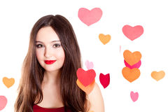 Young woman on Valentine's day Royalty Free Stock Images