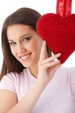 Young woman at valentine's day smiling Royalty Free Stock Image