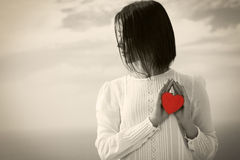 Young woman with Valentine's Heart Stock Photos