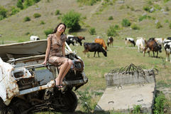 Young woman in a valley Royalty Free Stock Photography