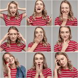 Young woman with various emotions on collage royalty free stock photos