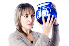 Young woman with vase Stock Photography