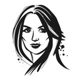 Young woman. Vector fashion illustration. Vector imitation of quick ink sketch Stock Images