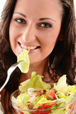 Young woman with vegetable salad bowl Stock Image