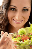 Young woman with vegetable salad bowl Stock Photography
