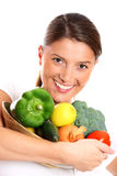 Young woman and vegetables Stock Photo